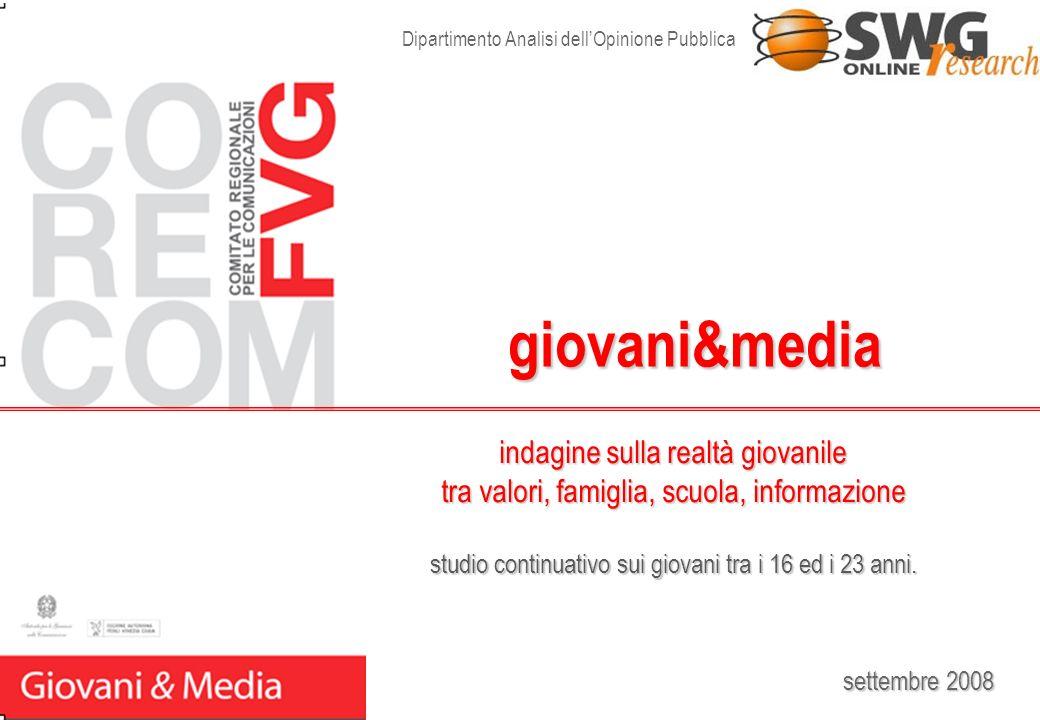 settembre 2008 giovani&media Dipartimento Analisi dellOpinione Pubblica indagine sulla realtà giovanile tra valori, famiglia, scuola, informazione stu