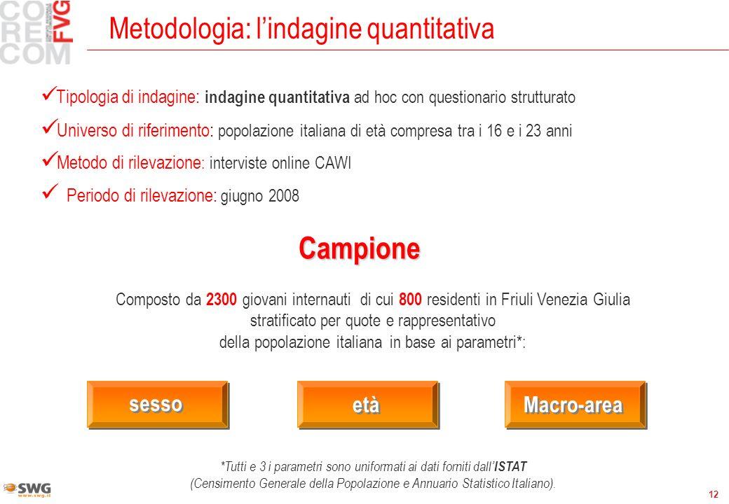 12 Metodologia: lindagine quantitativa Campione Tipologia di indagine: indagine quantitativa ad hoc con questionario strutturato Universo di riferimen