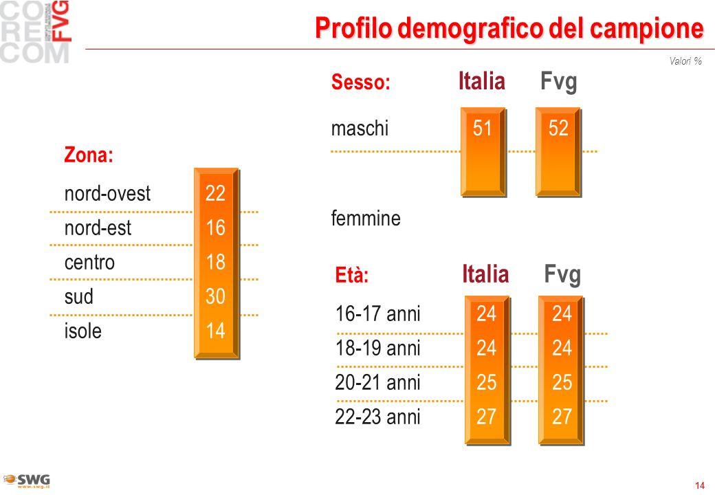 14 Profilo demografico del campione Sesso: ItaliaFvg maschi5152 femmine4948 Età: ItaliaFvg 16-17 anni 2424 18-19 anni 2424 20-21 anni 2525 22-23 anni 2727 Valori % Zona: nord-ovest22 nord-est16 centro18 sud30 isole14