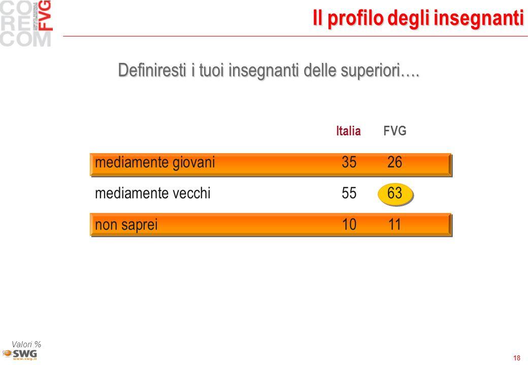18 Il profilo degli insegnanti Definiresti i tuoi insegnanti delle superiori…. Valori % ItaliaFVG mediamente giovani 3526 mediamente vecchi 5563 non s