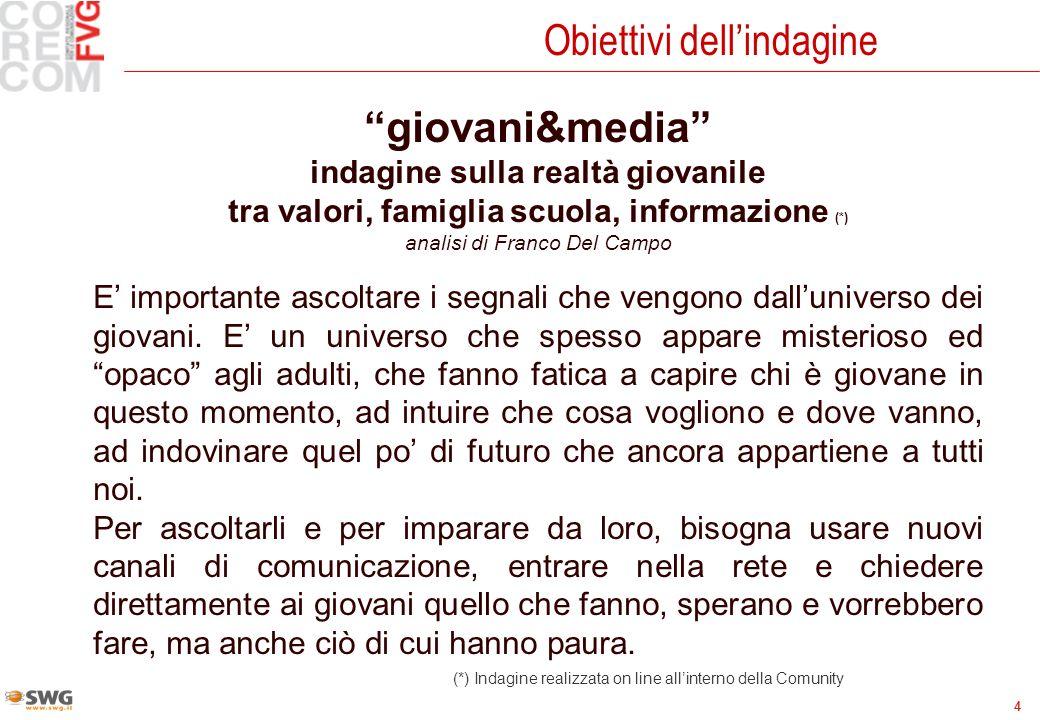 4 Obiettivi dellindagine giovani&media indagine sulla realtà giovanile tra valori, famiglia scuola, informazione (*) analisi di Franco Del Campo E imp