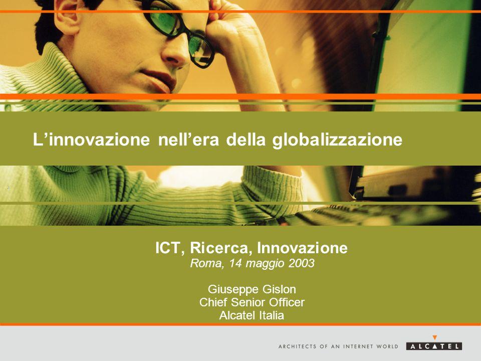 Linnovazione nellera della globalizzazione ICT, Ricerca, Innovazione Roma, 14 maggio 2003 Giuseppe Gislon Chief Senior Officer Alcatel Italia