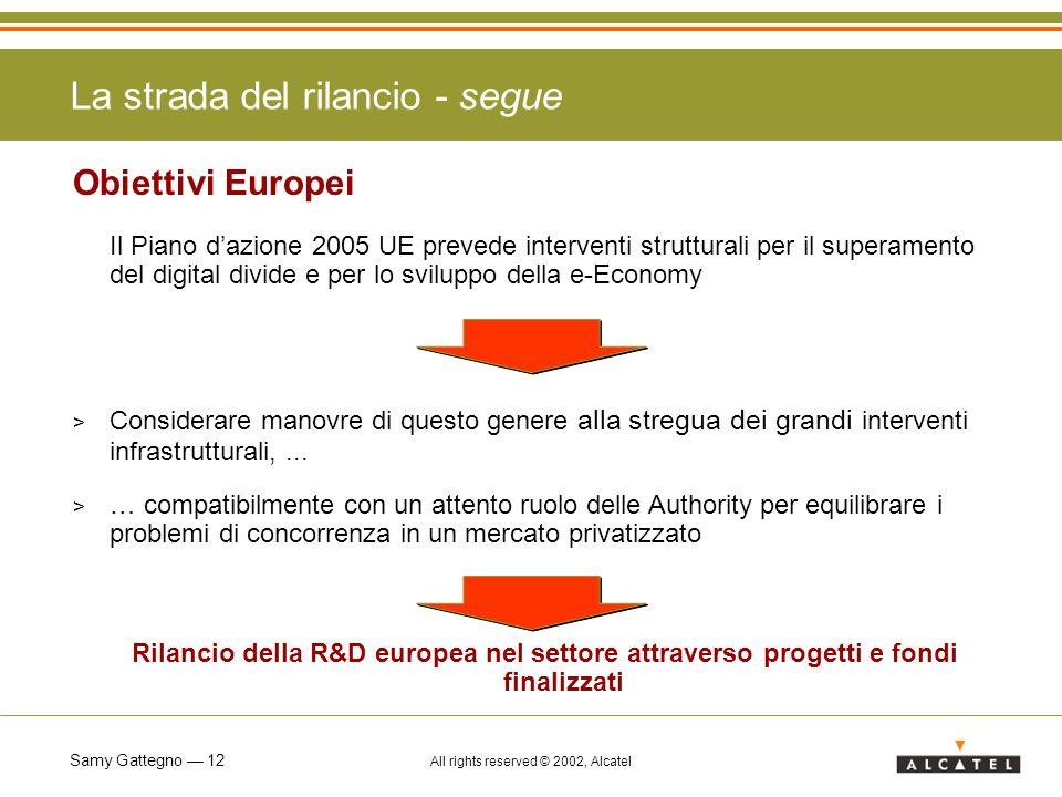 Samy Gattegno 12 All rights reserved © 2002, Alcatel La strada del rilancio - segue Obiettivi Europei Il Piano dazione 2005 UE prevede interventi stru