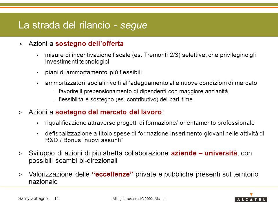 Samy Gattegno 14 All rights reserved © 2002, Alcatel > Azioni a sostegno dellofferta misure di incentivazione fiscale (es. Tremonti 2/3) selettive, ch