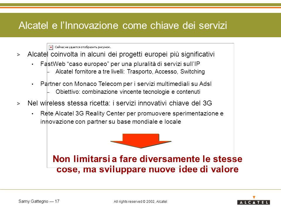 Samy Gattegno 17 All rights reserved © 2002, Alcatel Alcatel e lInnovazione come chiave dei servizi > Alcatel coinvolta in alcuni dei progetti europei