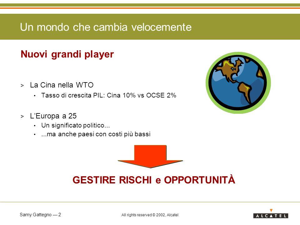 Samy Gattegno 2 All rights reserved © 2002, Alcatel Un mondo che cambia velocemente Nuovi grandi player > La Cina nella WTO Tasso di crescita PIL: Cin