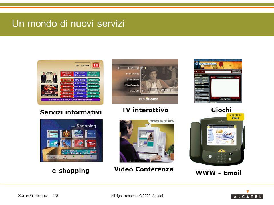 Samy Gattegno 20 All rights reserved © 2002, Alcatel Servizi informativi WWW - Email e-shopping TV interattiva Video Conferenza Giochi Un mondo di nuovi servizi
