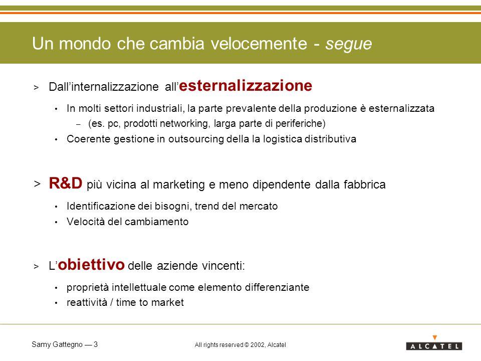 Samy Gattegno 14 All rights reserved © 2002, Alcatel > Azioni a sostegno dellofferta misure di incentivazione fiscale (es.