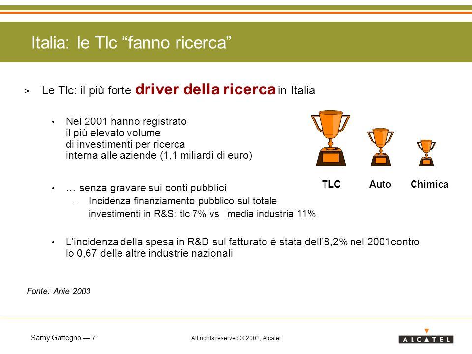 Samy Gattegno 7 All rights reserved © 2002, Alcatel Italia: le Tlc fanno ricerca > Le Tlc: il più forte driver della ricerca in Italia Nel 2001 hanno registrato il più elevato volume di investimenti per ricerca interna alle aziende (1,1 miliardi di euro) … senza gravare sui conti pubblici – Incidenza finanziamento pubblico sul totale investimenti in R&S: tlc 7% vs media industria 11% Lincidenza della spesa in R&D sul fatturato è stata dell8,2% nel 2001contro lo 0,67 delle altre industrie nazionali TLCAutoChimica Fonte: Anie 2003