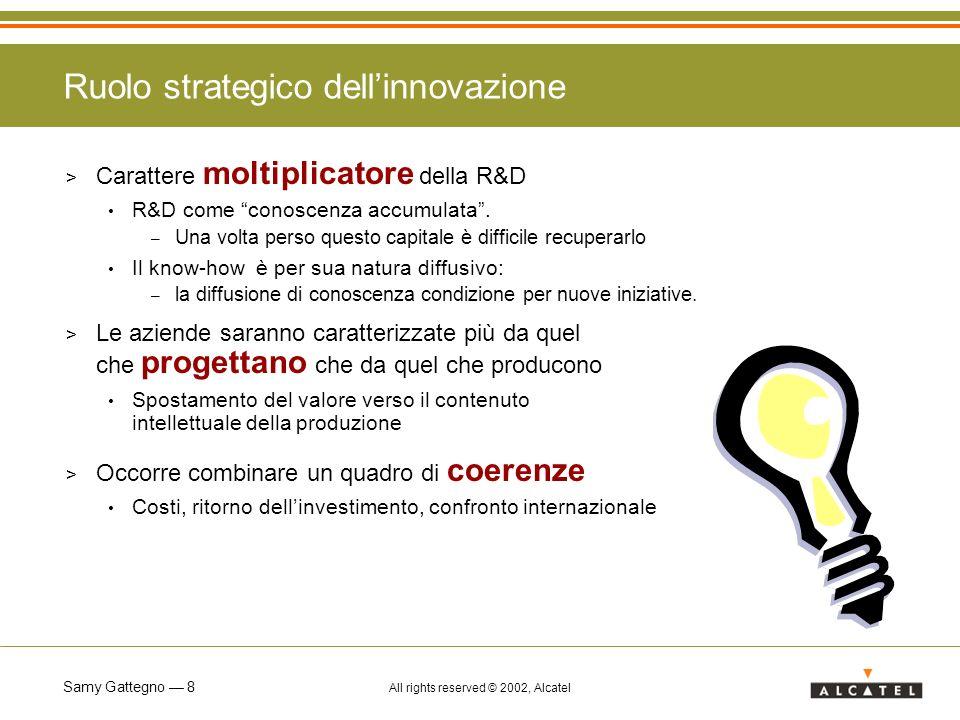 Samy Gattegno 8 All rights reserved © 2002, Alcatel Ruolo strategico dellinnovazione > Carattere moltiplicatore della R&D R&D come conoscenza accumula