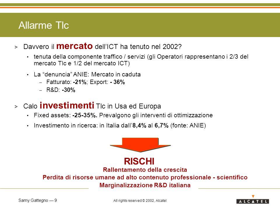 Samy Gattegno 9 All rights reserved © 2002, Alcatel Allarme Tlc > Davvero il mercato dellICT ha tenuto nel 2002.