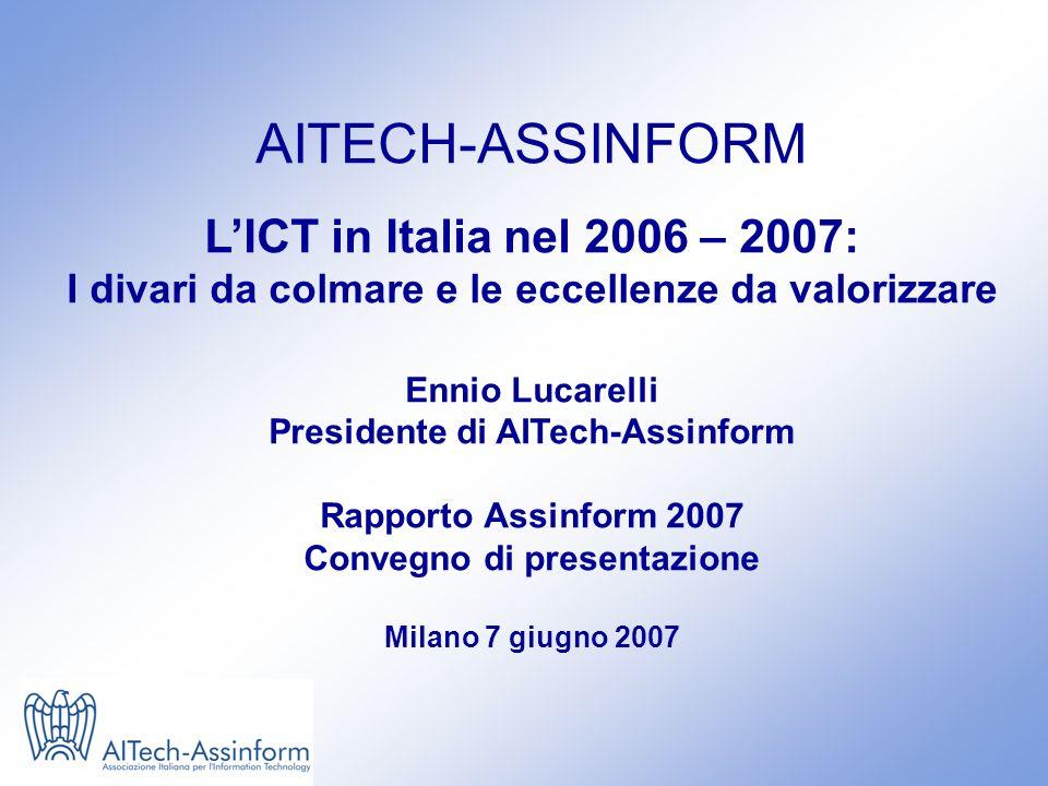 Convegno Rapporto 2007 Milano, 7 giugno 2007 - Slide 0 AITECH-ASSINFORM LICT in Italia nel 2006 – 2007: I divari da colmare e le eccellenze da valorizzare Ennio Lucarelli Presidente di AITech-Assinform Rapporto Assinform 2007 Convegno di presentazione Milano 7 giugno 2007