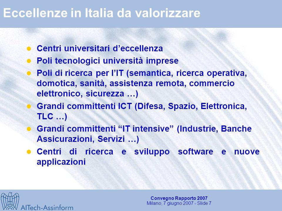 Convegno Rapporto 2007 Milano, 7 giugno 2007 - Slide 7 Eccellenze in Italia da valorizzare Centri universitari deccellenza Poli tecnologici università imprese Poli di ricerca per lIT (semantica, ricerca operativa, domotica, sanità, assistenza remota, commercio elettronico, sicurezza …) Grandi committenti ICT (Difesa, Spazio, Elettronica, TLC …) Grandi committenti IT intensive (Industrie, Banche Assicurazioni, Servizi …) Centri di ricerca e sviluppo software e nuove applicazioni