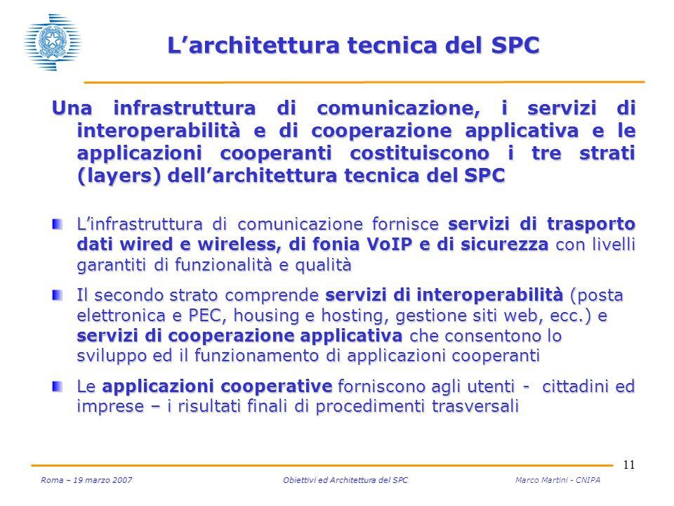 11 Roma – 19 marzo 2007 Obiettivi ed Architettura del SPC Roma – 19 marzo 2007 Obiettivi ed Architettura del SPC Marco Martini - CNIPA Larchitettura t