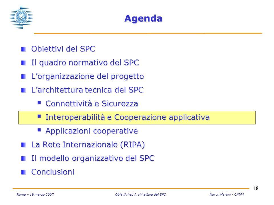 18 Roma – 19 marzo 2007 Obiettivi ed Architettura del SPC Roma – 19 marzo 2007 Obiettivi ed Architettura del SPC Marco Martini - CNIPA Agenda Obiettiv