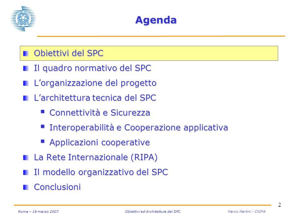 33 Roma – 19 marzo 2007 Obiettivi ed Architettura del SPC Roma – 19 marzo 2007 Obiettivi ed Architettura del SPC Marco Martini - CNIPA Il modello organizzativo del SPC La Commissione di Coordinamento (CC) che sovrintende al funzionamento del SPC è composta in modo paritetico da rappresentanti della PA centrale e locale (Tav.
