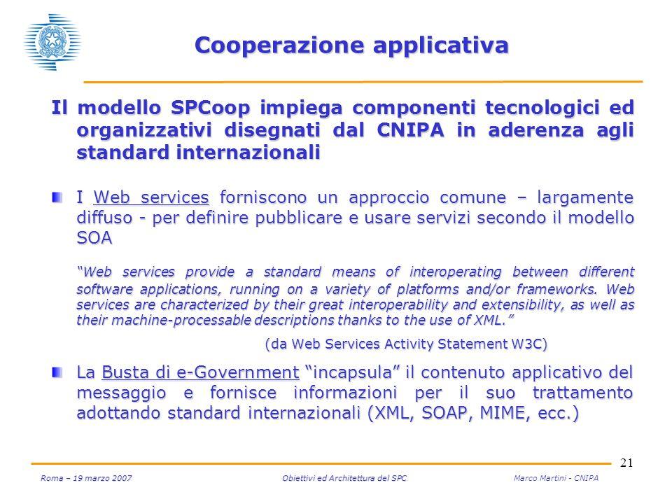 21 Roma – 19 marzo 2007 Obiettivi ed Architettura del SPC Roma – 19 marzo 2007 Obiettivi ed Architettura del SPC Marco Martini - CNIPA Cooperazione ap