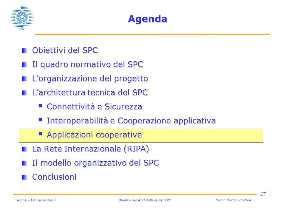 27 Roma – 19 marzo 2007 Obiettivi ed Architettura del SPC Roma – 19 marzo 2007 Obiettivi ed Architettura del SPC Marco Martini - CNIPA Agenda Obiettiv