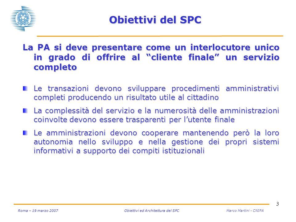 3 Roma – 19 marzo 2007 Obiettivi ed Architettura del SPC Roma – 19 marzo 2007 Obiettivi ed Architettura del SPC Marco Martini - CNIPA Obiettivi del SP