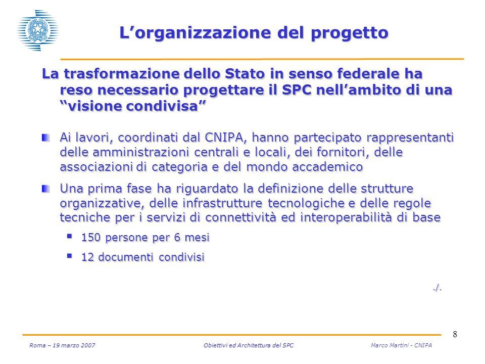 8 Roma – 19 marzo 2007 Obiettivi ed Architettura del SPC Roma – 19 marzo 2007 Obiettivi ed Architettura del SPC Marco Martini - CNIPA La trasformazion