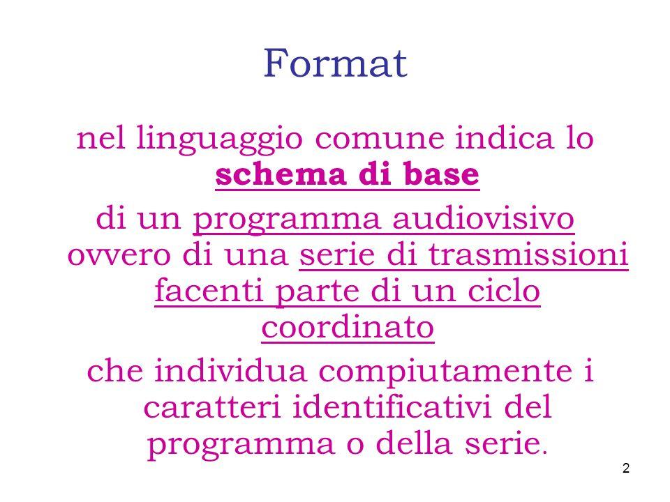 Format nel linguaggio comune indica lo schema di base di un programma audiovisivo ovvero di una serie di trasmissioni facenti parte di un ciclo coordi