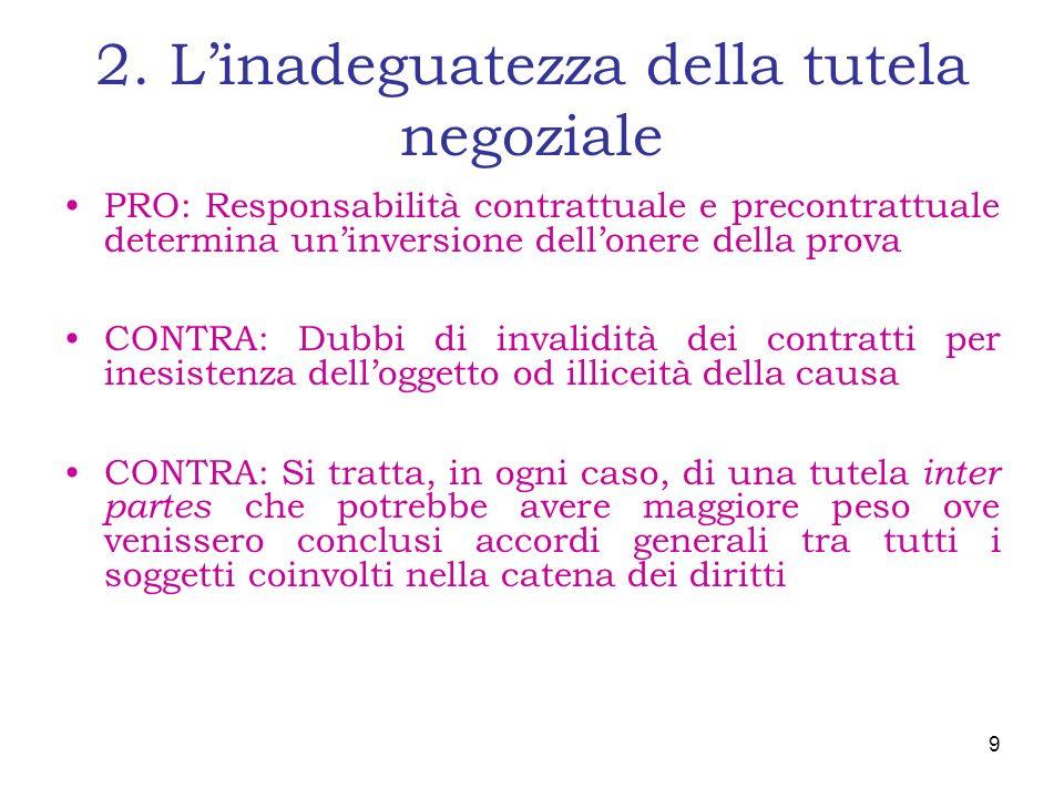 2. Linadeguatezza della tutela negoziale PRO: Responsabilità contrattuale e precontrattuale determina uninversione dellonere della prova CONTRA: Dubbi