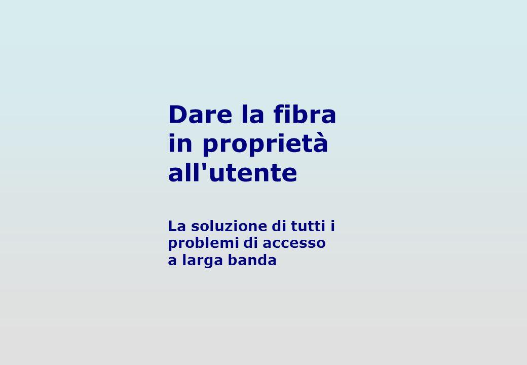 3 di 12 La soluzione di tutti i problemi di accesso a larga banda Dare la fibra in proprietà all utente