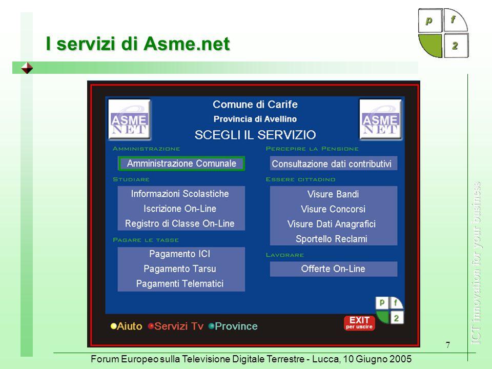 Forum Europeo sulla Televisione Digitale Terrestre - Lucca, 10 Giugno 2005 7 I servizi di Asme.net