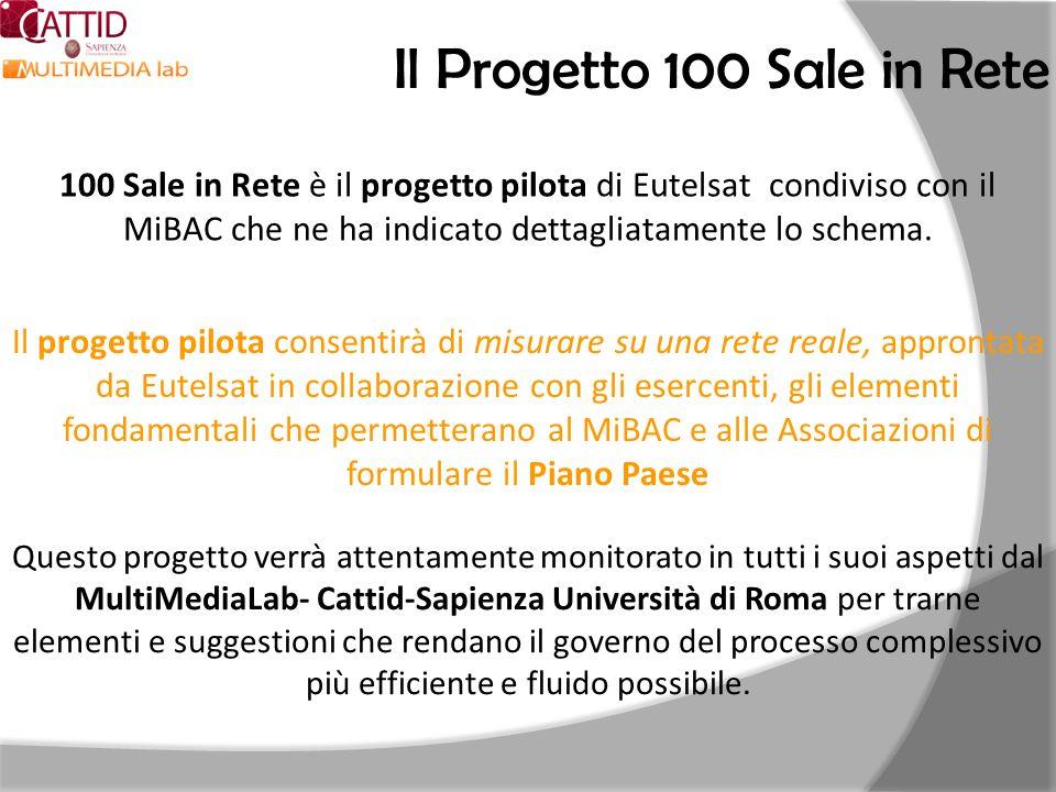 Il Progetto 100 Sale in Rete 100 Sale in Rete è il progetto pilota di Eutelsat condiviso con il MiBAC che ne ha indicato dettagliatamente lo schema. I