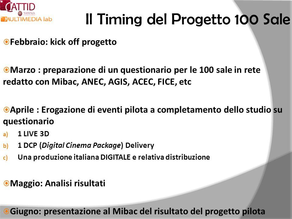 Il Timing del Progetto 100 Sale Febbraio: kick off progetto Marzo : preparazione di un questionario per le 100 sale in rete redatto con Mibac, ANEC, A