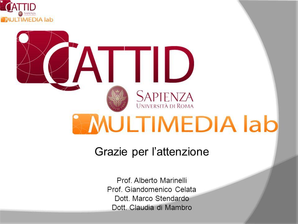 Grazie per lattenzione Prof. Alberto Marinelli Prof. Giandomenico Celata Dott. Marco Stendardo Dott. Claudia di Mambro
