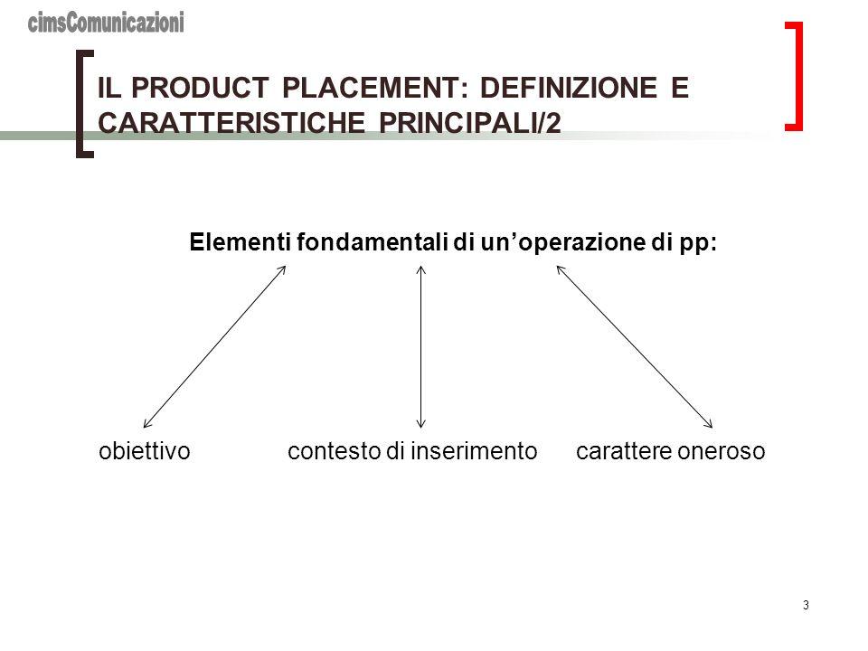 3 IL PRODUCT PLACEMENT: DEFINIZIONE E CARATTERISTICHE PRINCIPALI/2 Elementi fondamentali di unoperazione di pp: obiettivo contesto di inserimento cara