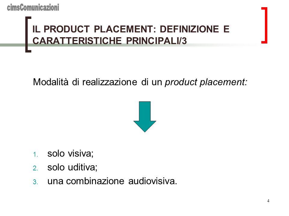 4 IL PRODUCT PLACEMENT: DEFINIZIONE E CARATTERISTICHE PRINCIPALI/3 Modalità di realizzazione di un product placement: 1. solo visiva; 2. solo uditiva;