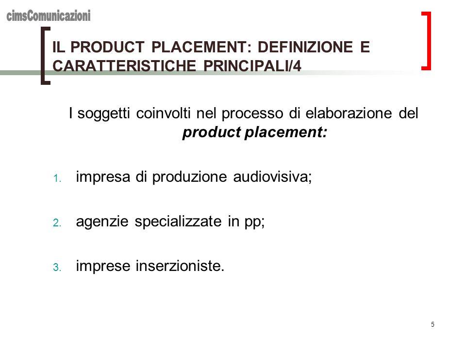 5 IL PRODUCT PLACEMENT: DEFINIZIONE E CARATTERISTICHE PRINCIPALI/4 I soggetti coinvolti nel processo di elaborazione del product placement: 1. impresa