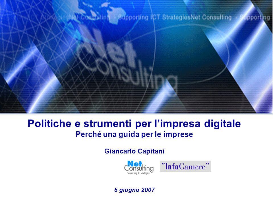 Politiche e strumenti per limpresa digitale 5 giugno 2007 Slide 10 I vantaggi della Posta Elettronica Certificata Fonte: Elaborazioni NetConsulting su fonti varie, 2006