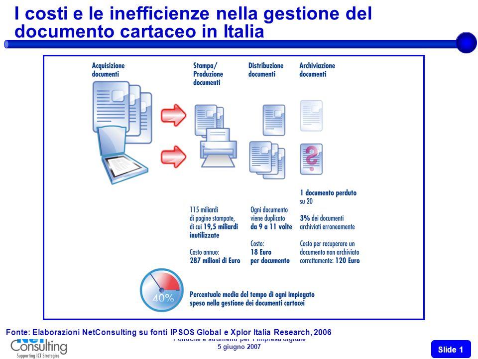 Politiche e strumenti per limpresa digitale 5 giugno 2007 Slide 11 I vantaggi delle soluzioni: fatturazione elettronica integrata con la conservazione sostitutiva Fonte: NetConsulting su dati BVA e Arthur D.