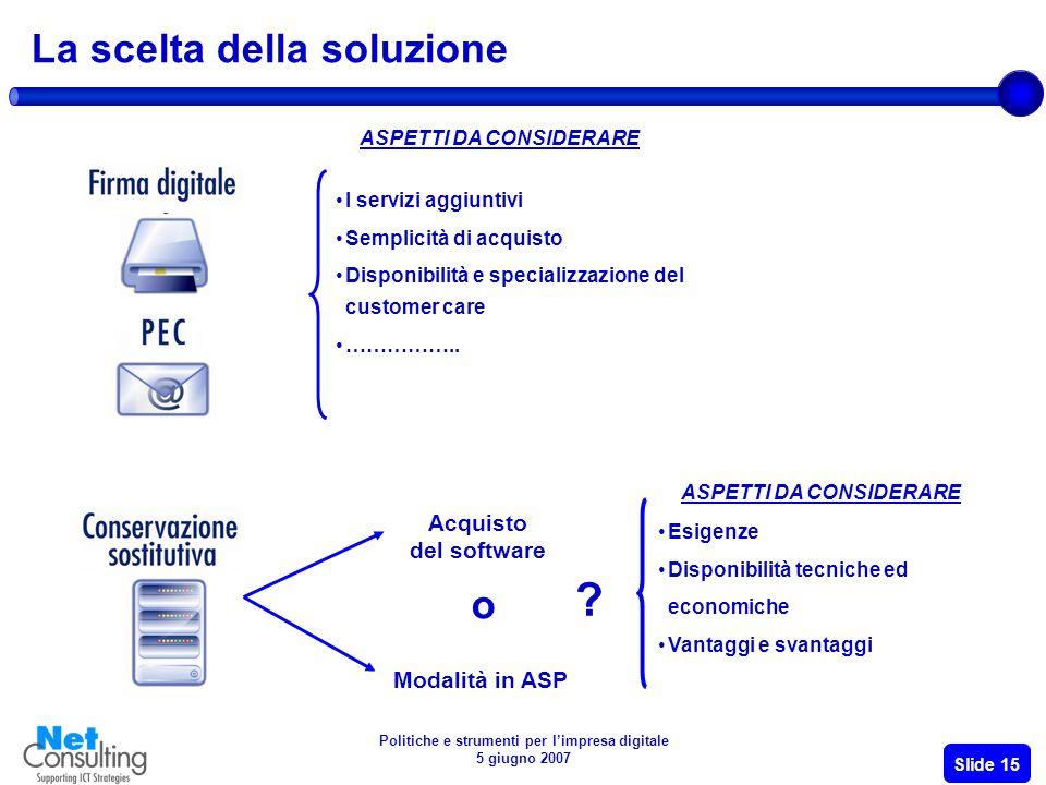 Politiche e strumenti per limpresa digitale 5 giugno 2007 Slide 14 La pianificazione e la realizzazione dellinvestimento
