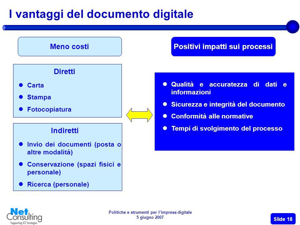 Politiche e strumenti per limpresa digitale 5 giugno 2007 Slide 17 Gli insegnamenti dalle case history ……lesperienza di altri per il successo del progetto nella propria azienda……..