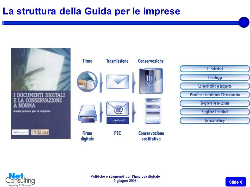 Politiche e strumenti per limpresa digitale 5 giugno 2007 Slide 8 La struttura della Guida per le imprese