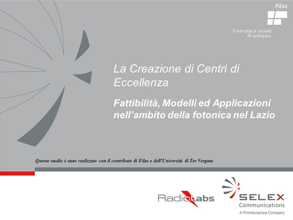 La Creazione di Centri di Eccellenza Fattibilità, Modelli ed Applicazioni nellambito della fotonica nel Lazio Questo studio è stato realizzato con il contributo di Filas e dellUniversità di Tor Vergata