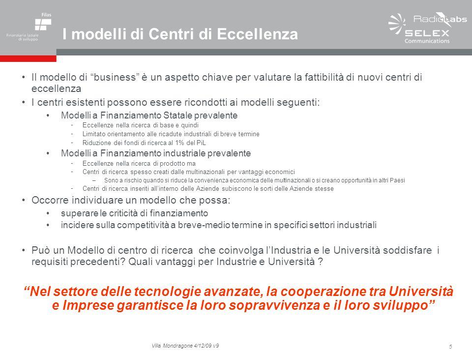 5 Villa Mondragone 4/12/09 v9 I modelli di Centri di Eccellenza Il modello di business è un aspetto chiave per valutare la fattibilità di nuovi centri