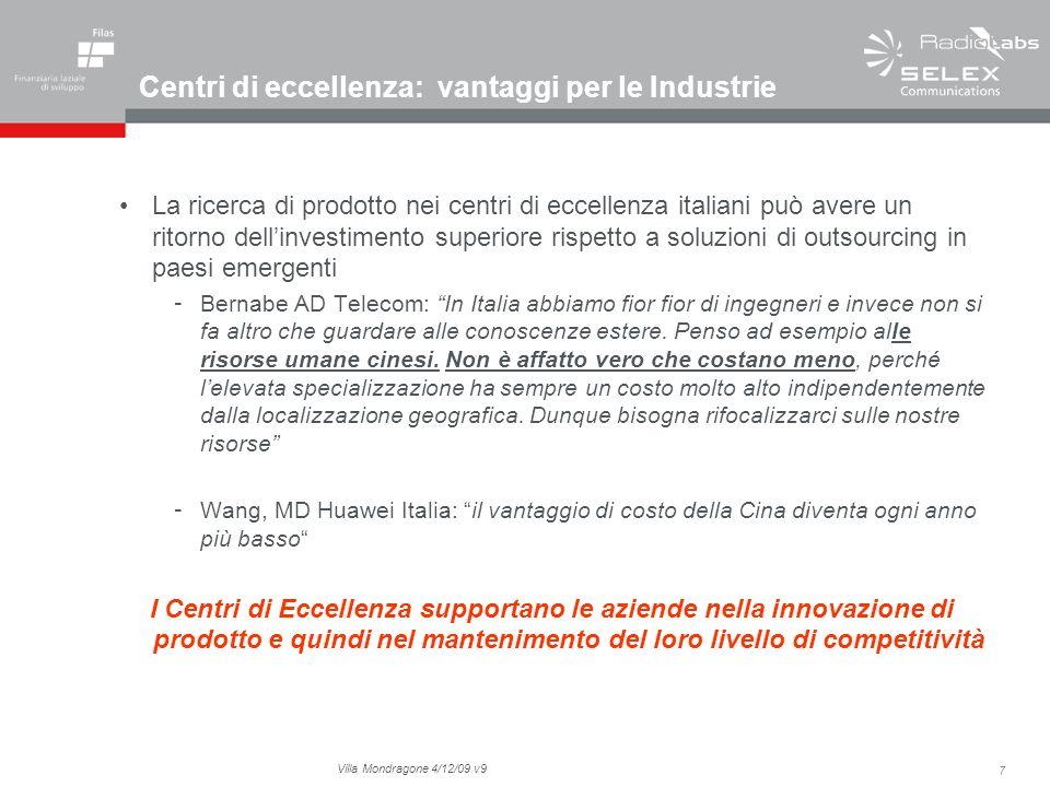 7 Villa Mondragone 4/12/09 v9 Centri di eccellenza: vantaggi per le Industrie La ricerca di prodotto nei centri di eccellenza italiani può avere un ri