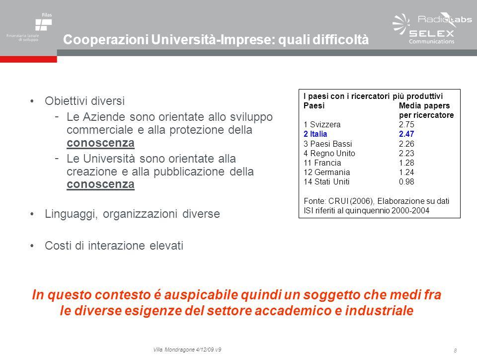 8 Villa Mondragone 4/12/09 v9 Cooperazioni Università-Imprese: quali difficoltà Obiettivi diversi - Le Aziende sono orientate allo sviluppo commercial