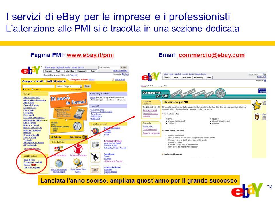 TM I servizi di eBay per le imprese e i professionisti Lattenzione alle PMI si è tradotta in una sezione dedicata Pagina PMI: www.ebay.it/pmi Email: commercio@ebay.comwww.ebay.it/pmicommercio@ebay.com Lanciata lanno scorso, ampliata questanno per il grande successo