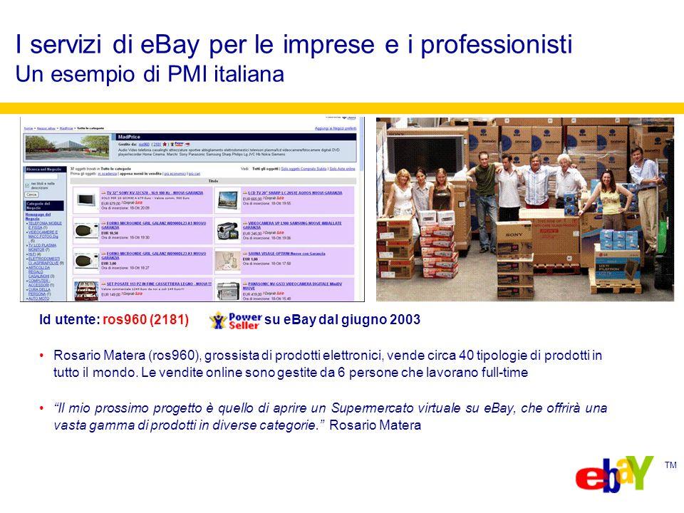 TM I servizi di eBay per le imprese e i professionisti Un esempio di PMI italiana Id utente: ros960 (2181) su eBay dal giugno 2003 Rosario Matera (ros960), grossista di prodotti elettronici, vende circa 40 tipologie di prodotti in tutto il mondo.