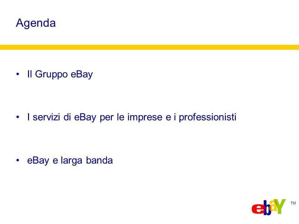 TM Agenda Il Gruppo eBay I servizi di eBay per le imprese e i professionisti eBay e larga banda