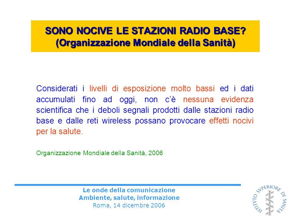 Le onde della comunicazione Ambiente, salute, informazione Roma, 14 dicembre 2006 SONO NOCIVE LE STAZIONI RADIO BASE? (Organizzazione Mondiale della S