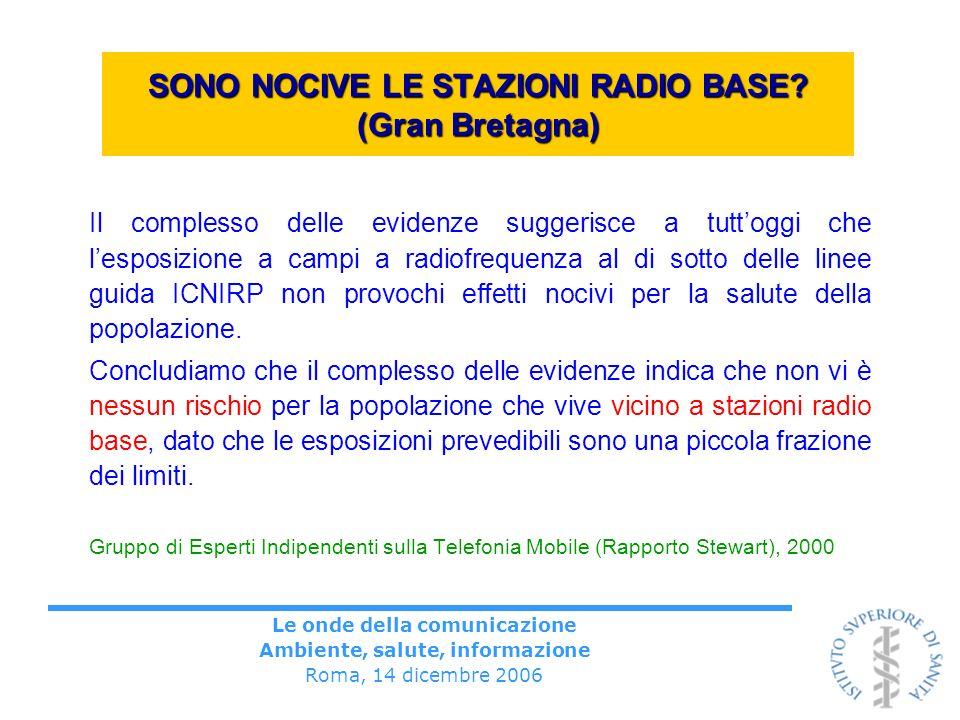 Le onde della comunicazione Ambiente, salute, informazione Roma, 14 dicembre 2006 SONO NOCIVE LE STAZIONI RADIO BASE? (Gran Bretagna) Il complesso del