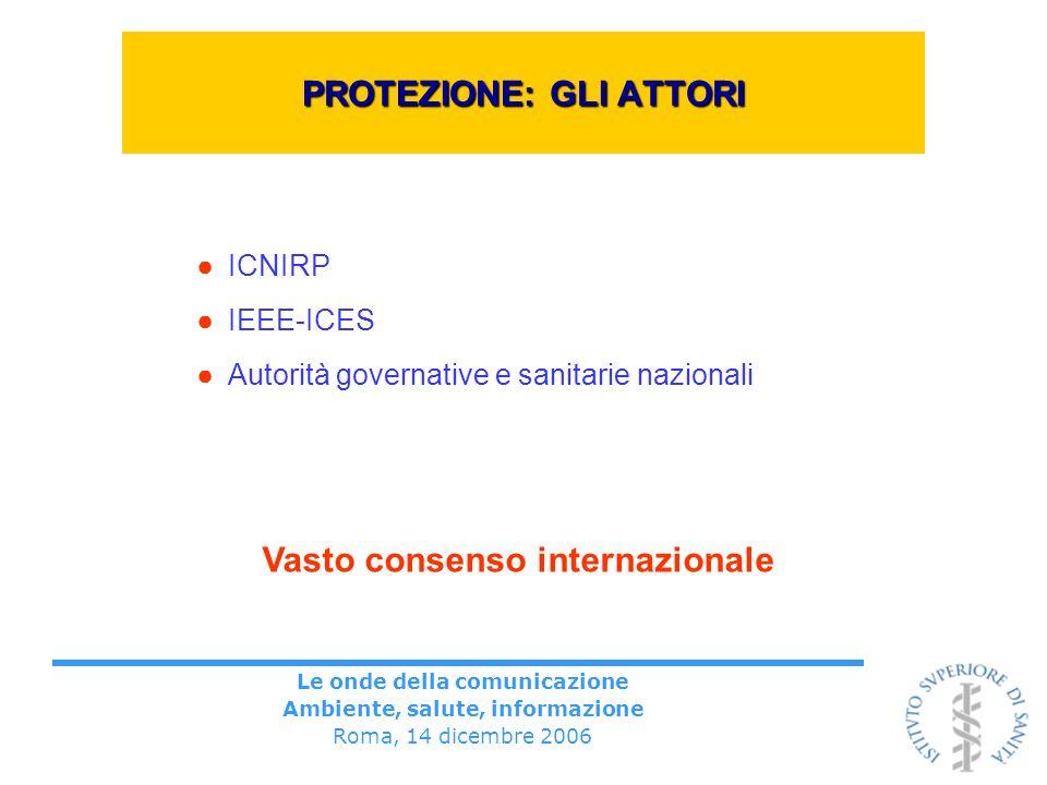 Le onde della comunicazione Ambiente, salute, informazione Roma, 14 dicembre 2006 PROTEZIONE: GLI ATTORI ICNIRP IEEE-ICES Autorità governative e sanitarie nazionali Vasto consenso internazionale