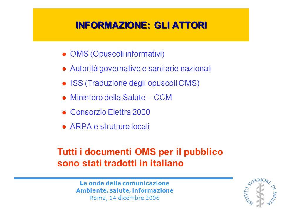 Le onde della comunicazione Ambiente, salute, informazione Roma, 14 dicembre 2006 INFORMAZIONE: GLI ATTORI OMS (Opuscoli informativi) Autorità governa